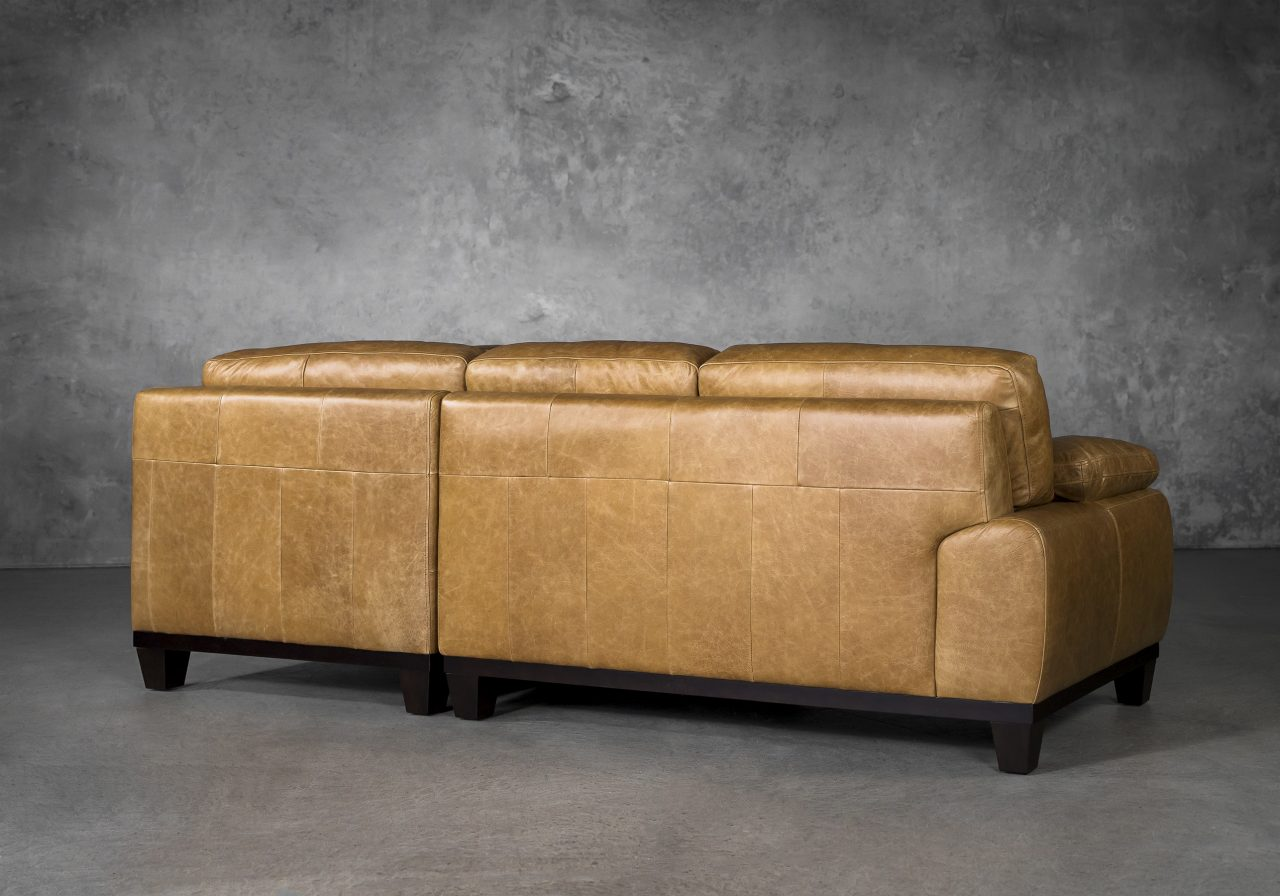Logan Sectional SR in Camel Leather, Back