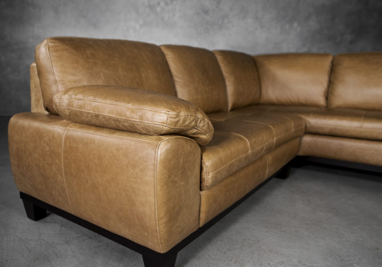 Logan Sectional SR in Camel Leather, Close Up