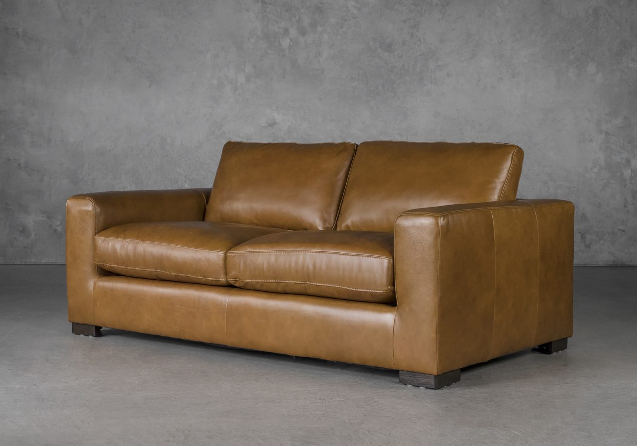 Lucca Loveseat in Copper Leather, Angle