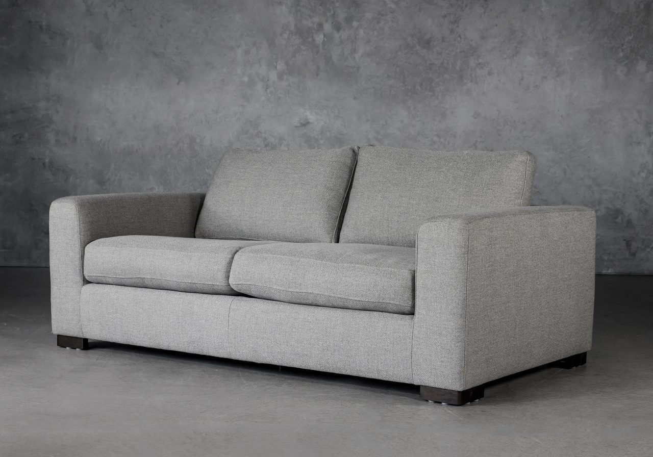 Lucca Loveseat in Light Grey Fabric, Angle