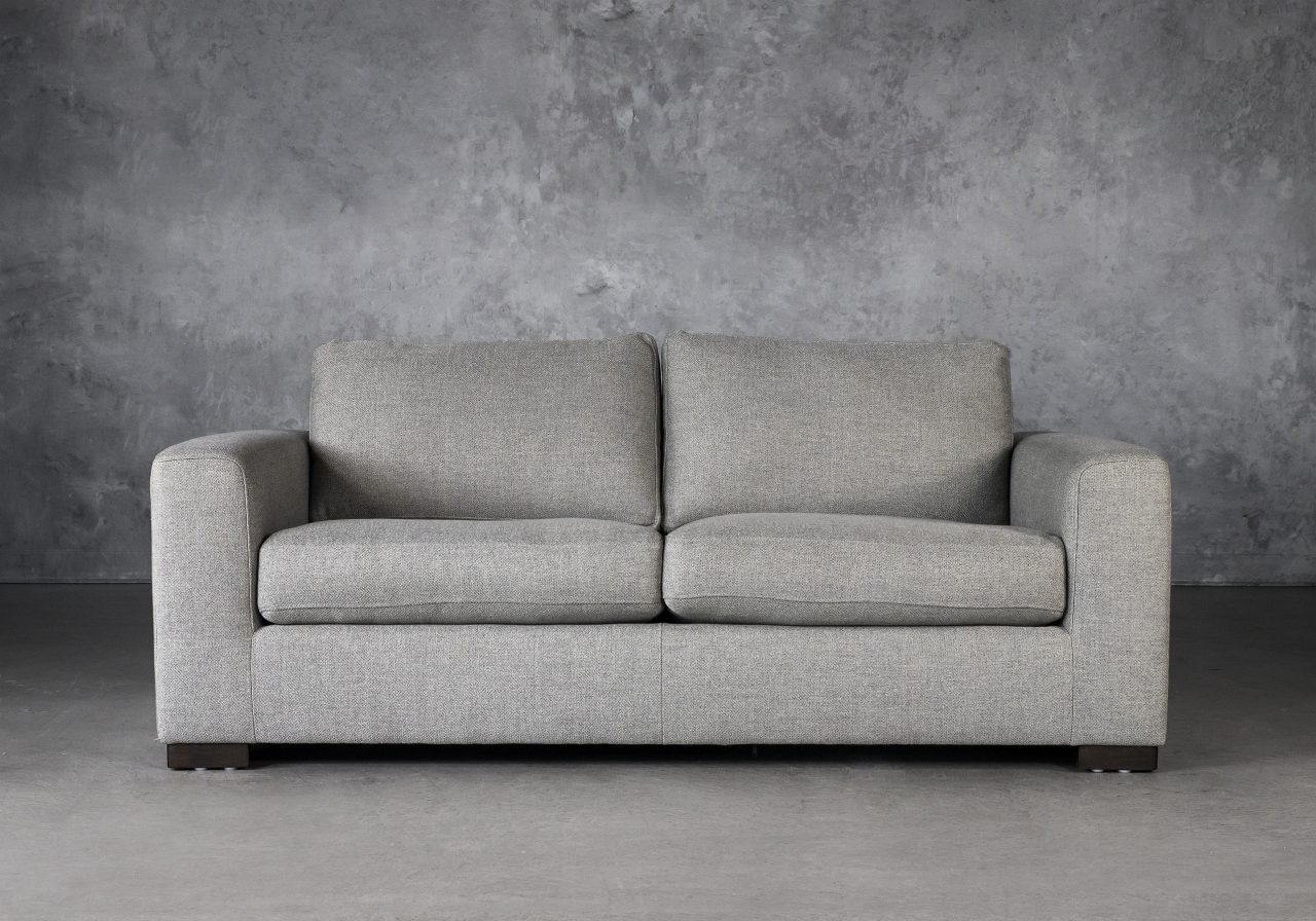 Lucca Loveseat in Light Grey Fabric, Front