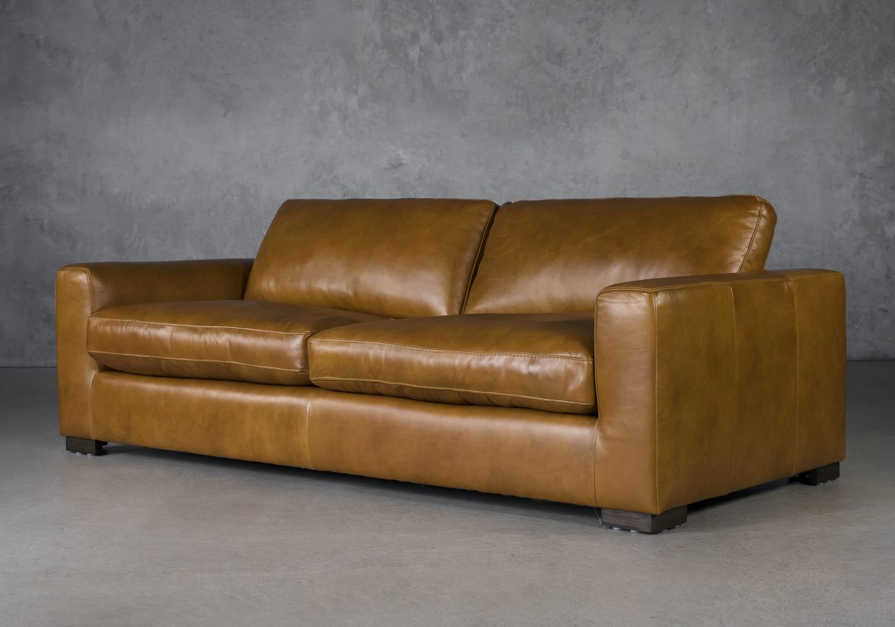 Lucca Sofa in Copper Leather, Angle