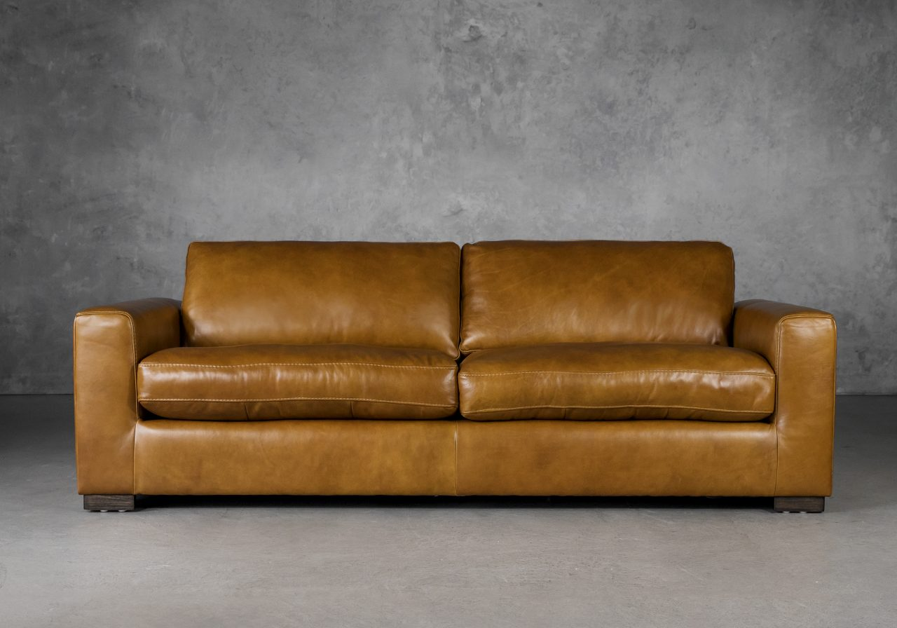 Lucca Sofa in Copper Leather, Front