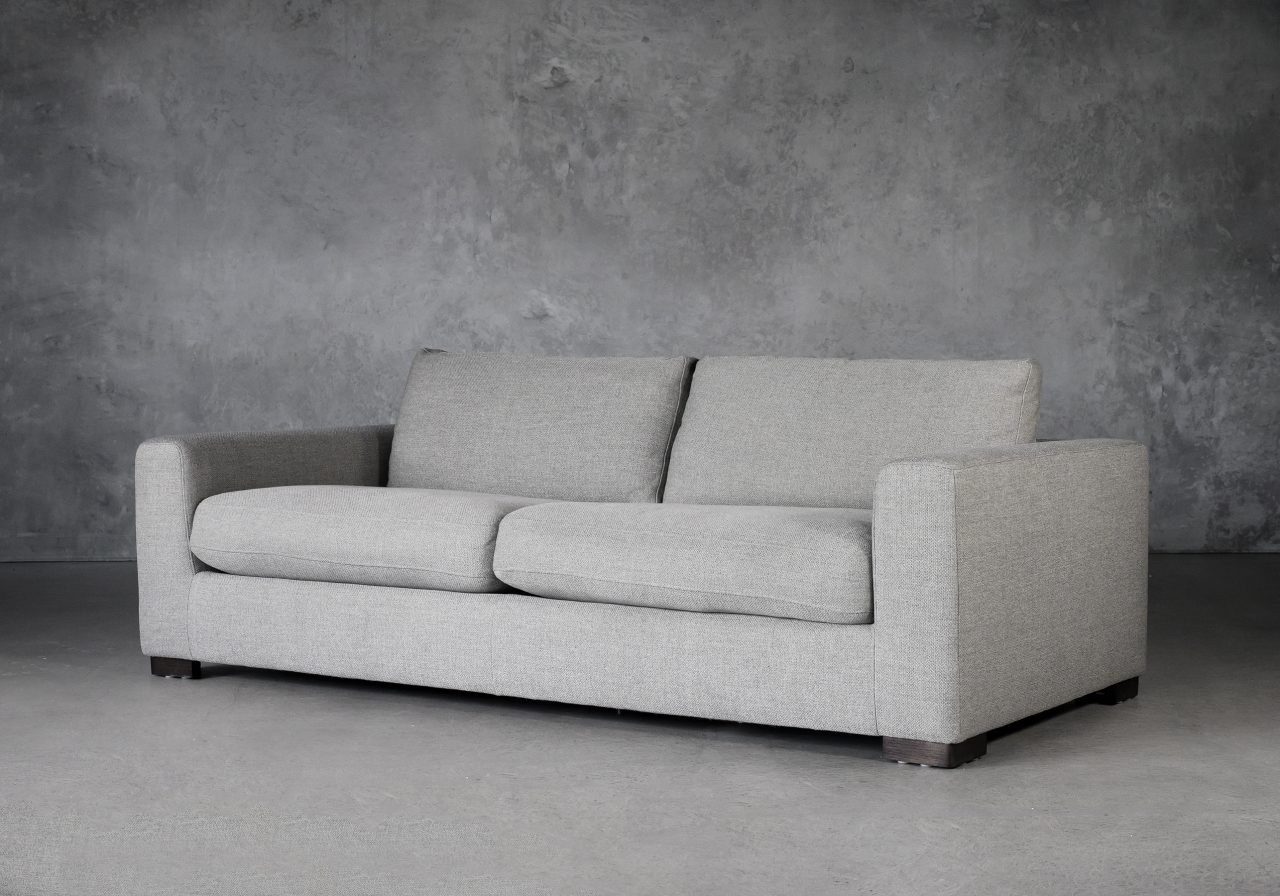 Lucca Sofa in Light Grey Fabric, Angle