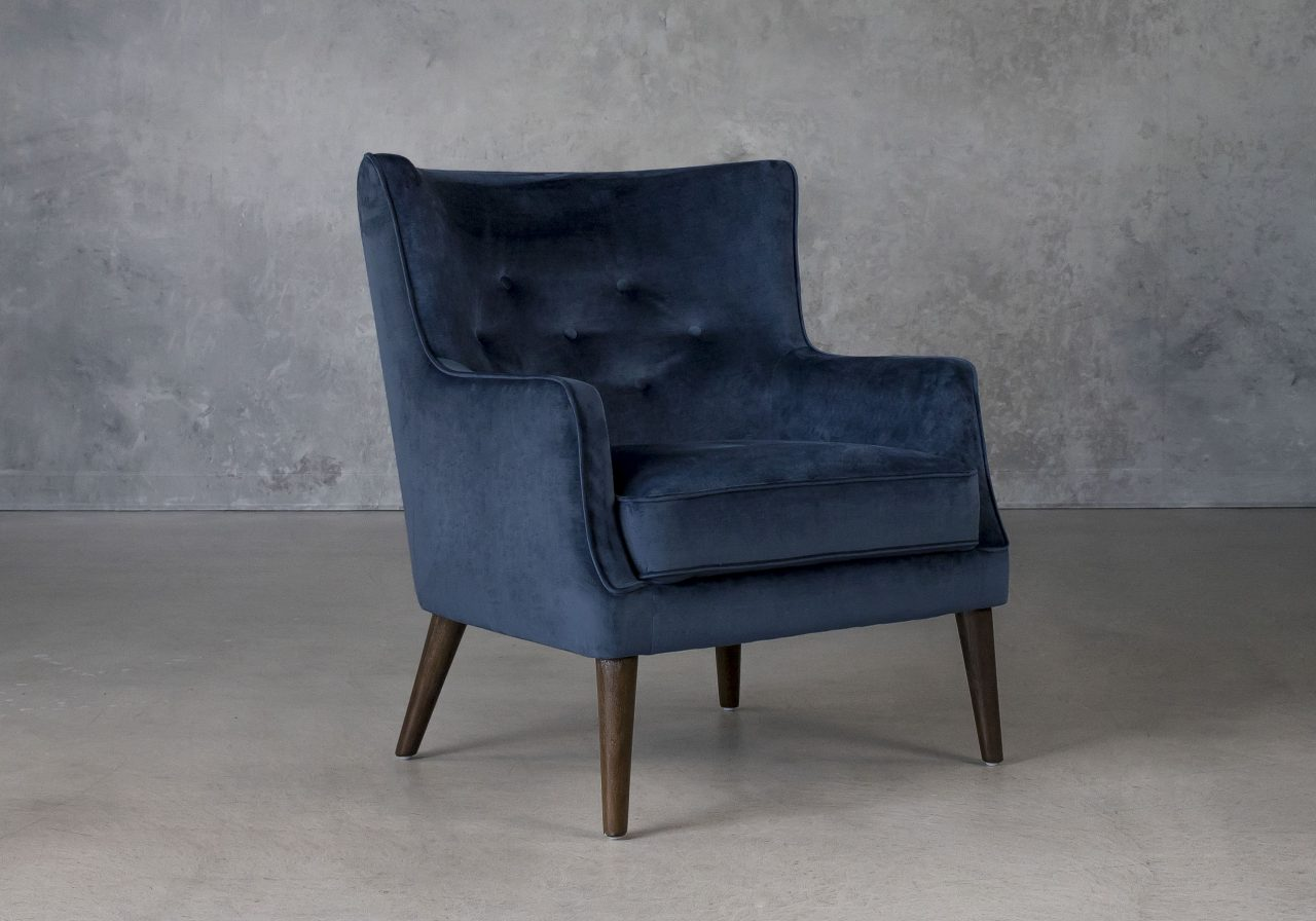 Marley Chair in Blue C758 Fabric, Angle