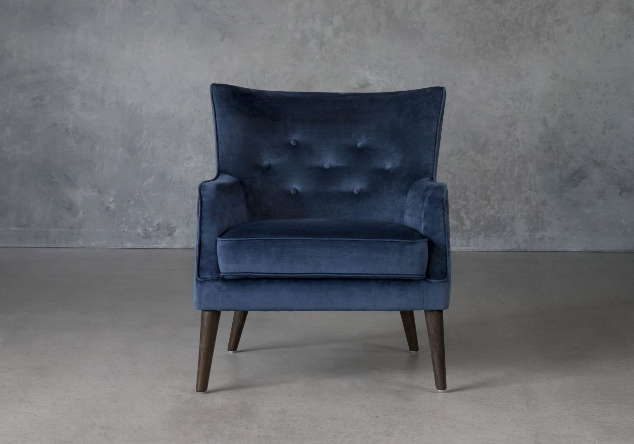 Marley Chair in Blue C758 Fabric, Front