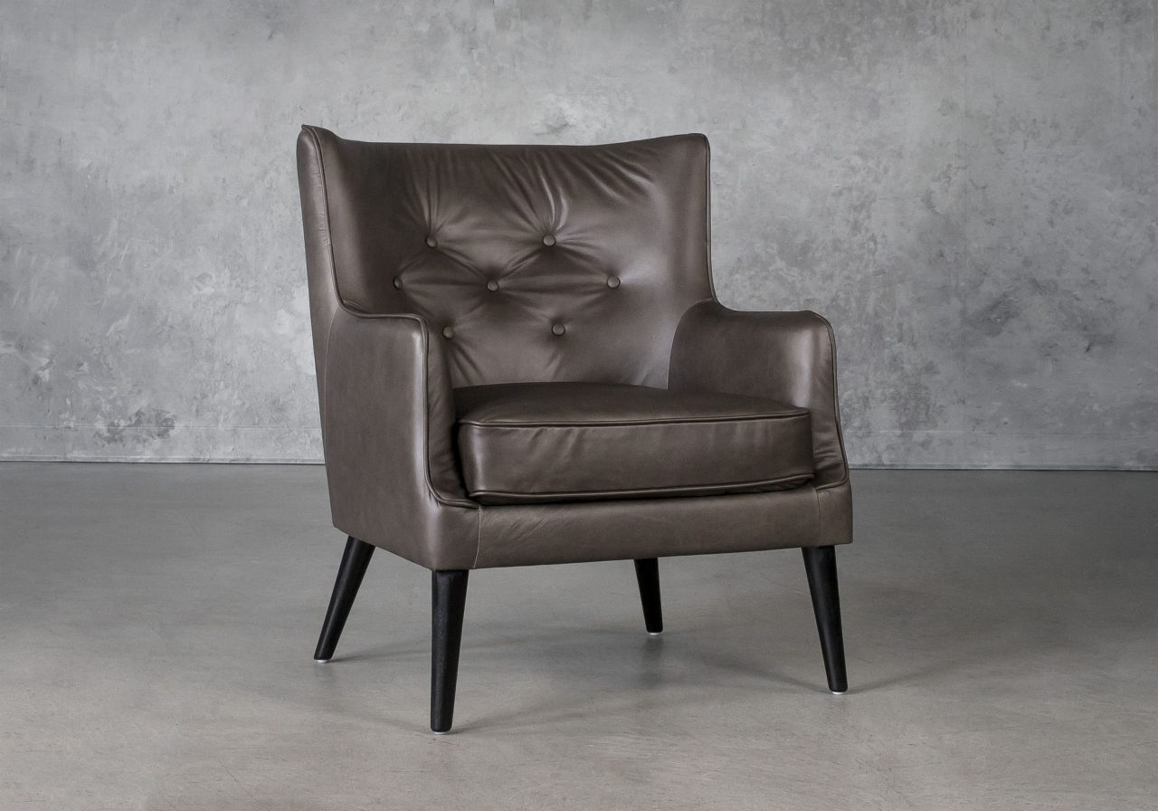 Marley Chair in Grey Leather, Angle