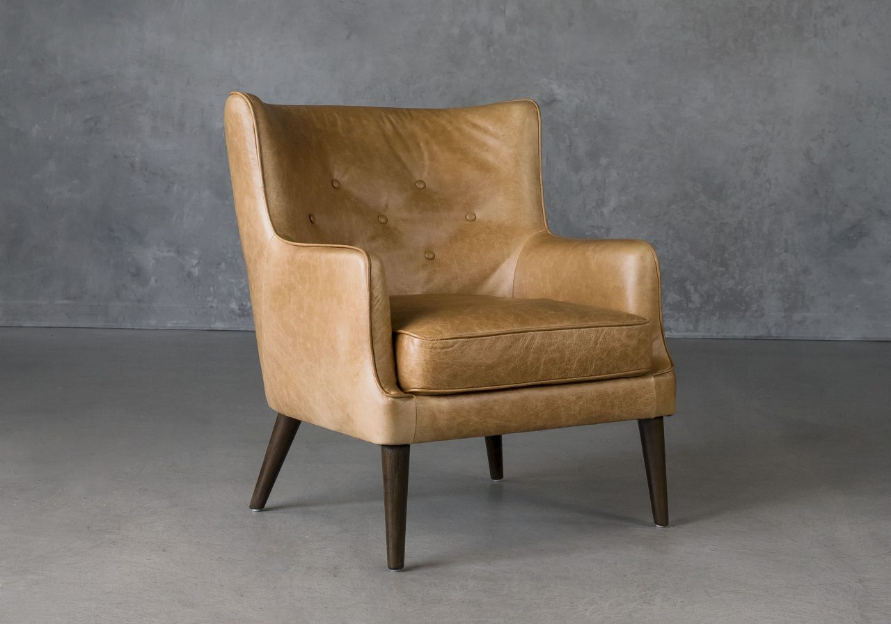 Marley Chair in Tan Leather, Angle