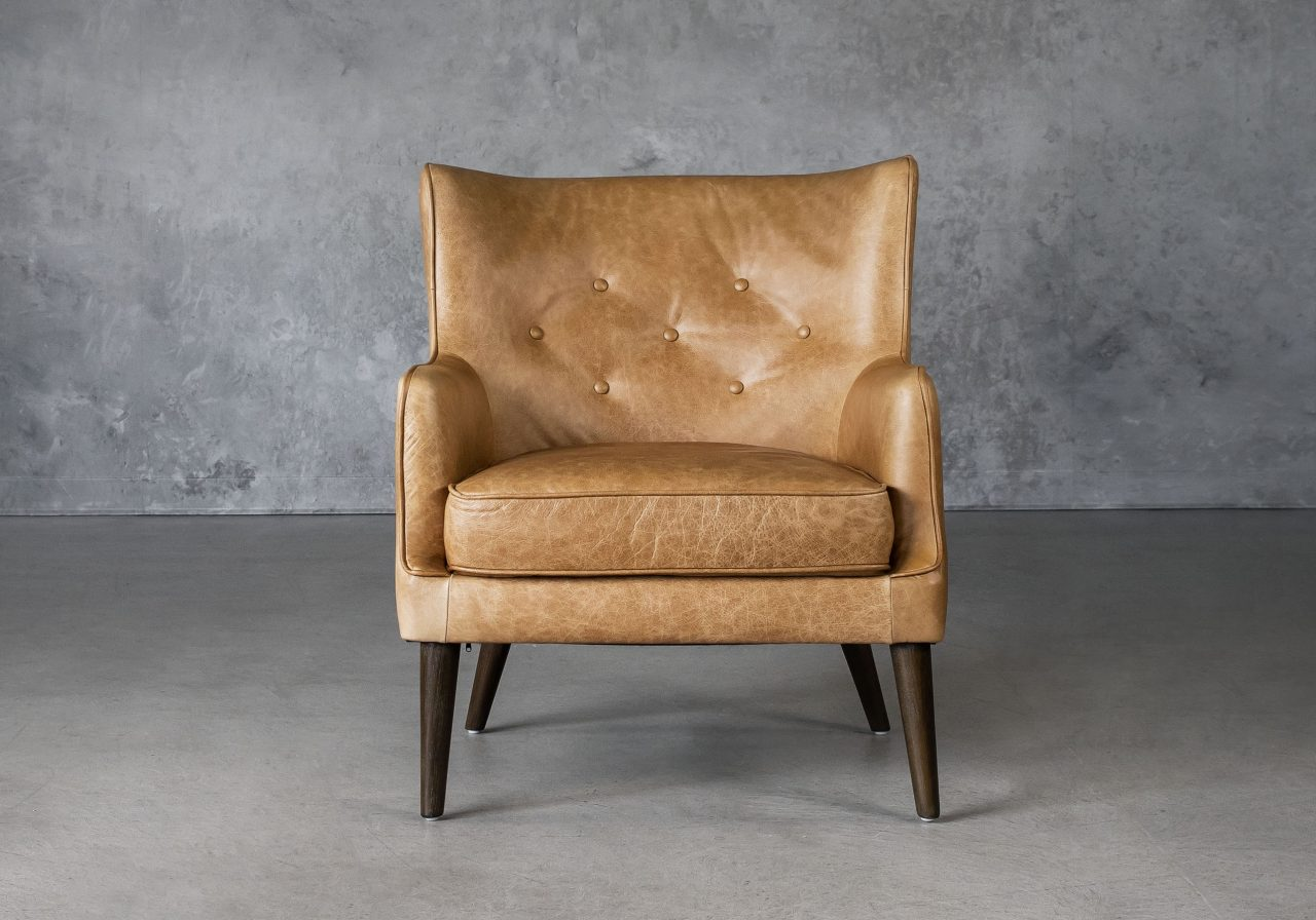 Marley Chair in Tan Leather, Front