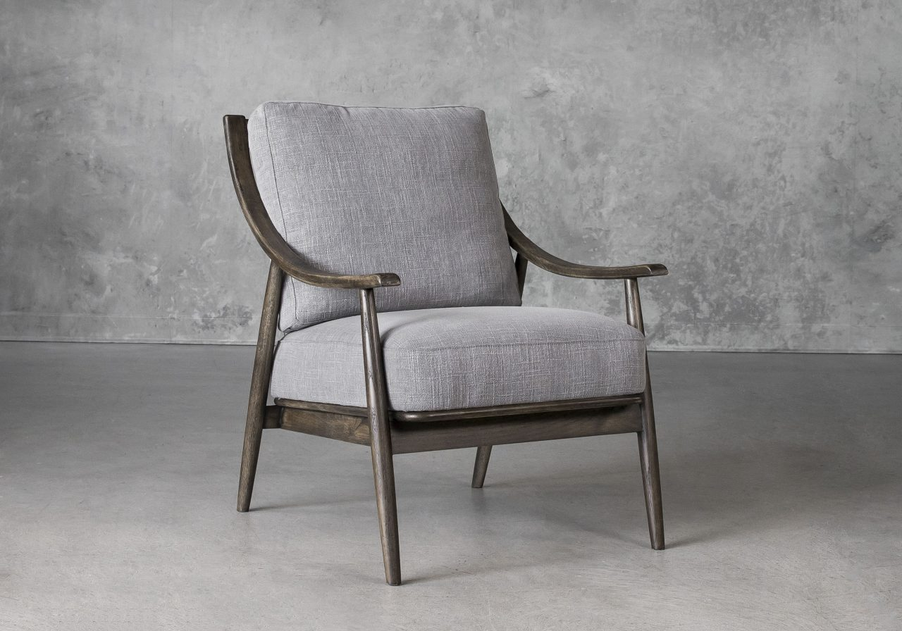 Mart Accent Chair in Grey Fabric, Angle