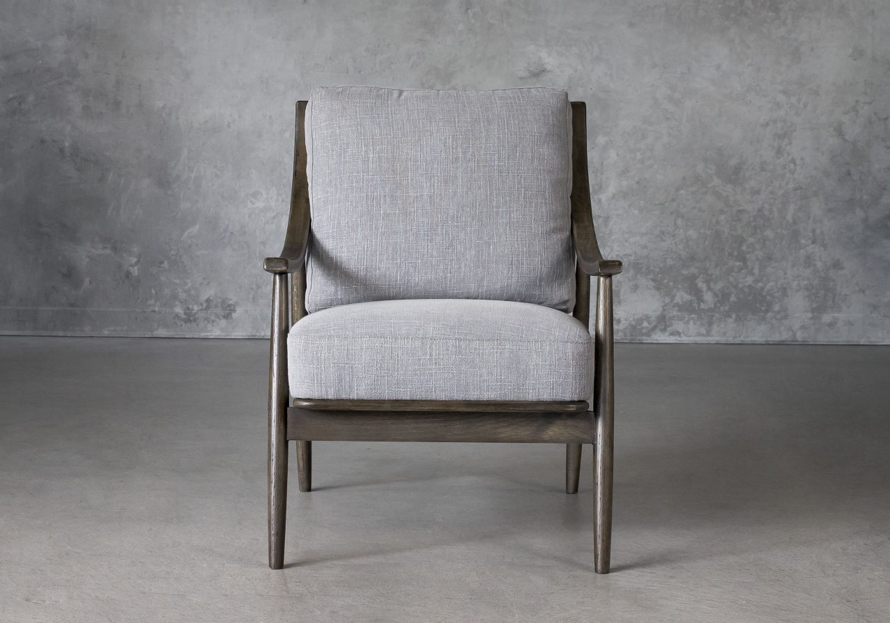 Mart Accent Chair in Grey Fabric, Front