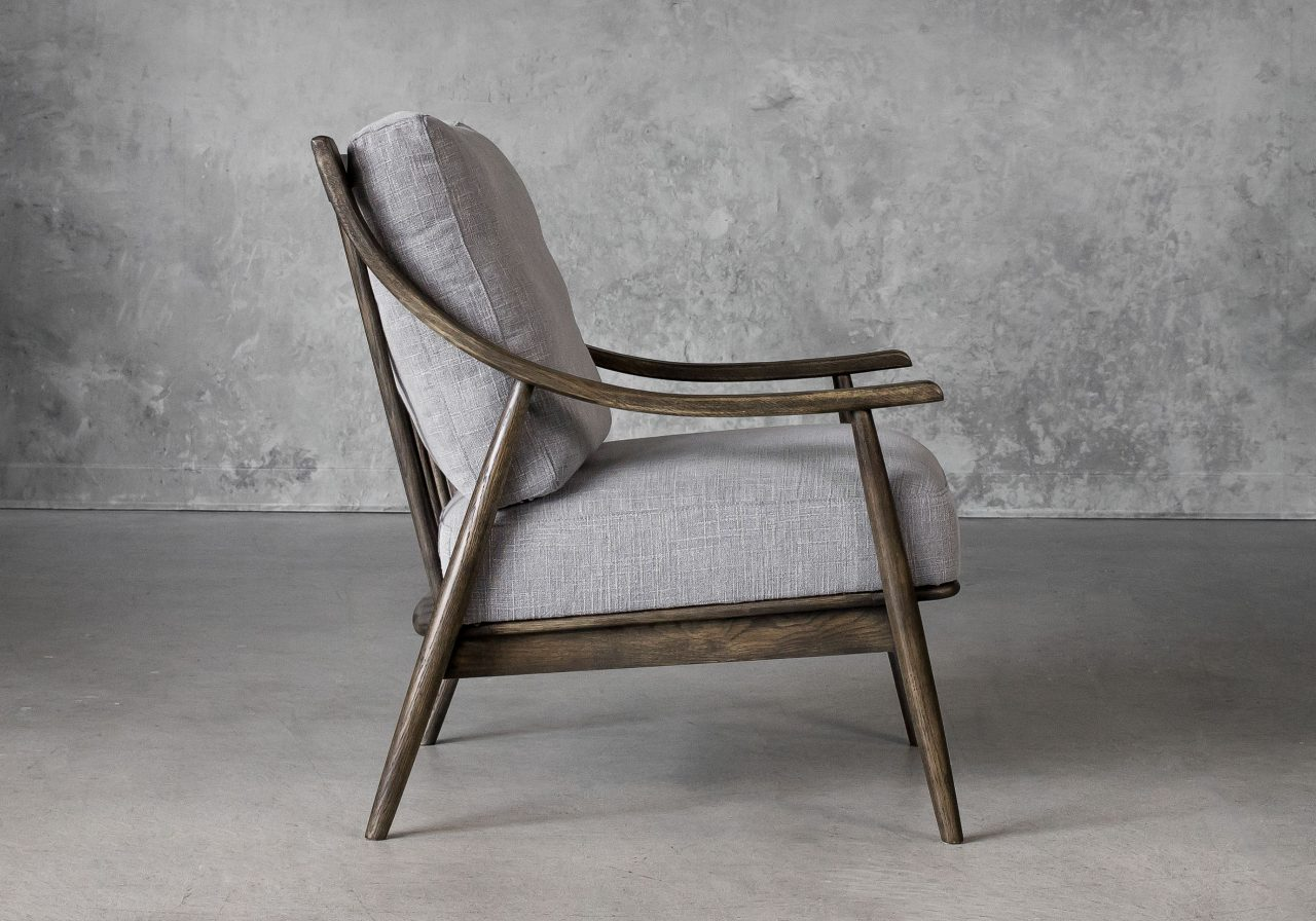 Mart Accent Chair in Grey Fabric, Side