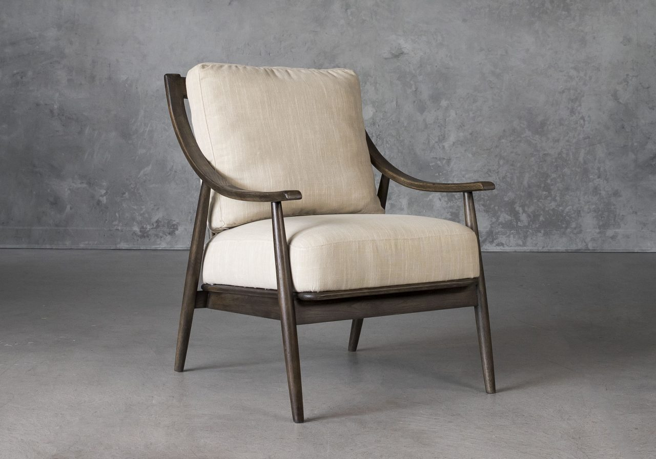 Mart Accent Chair in Linen Fabric, Angle