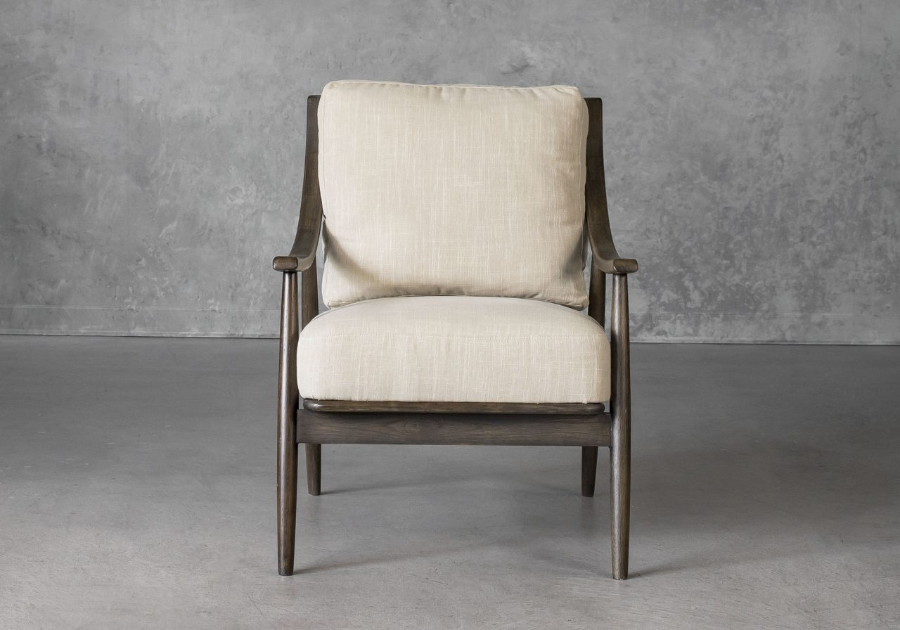 Mart Accent Chair in Linen Fabric, Front