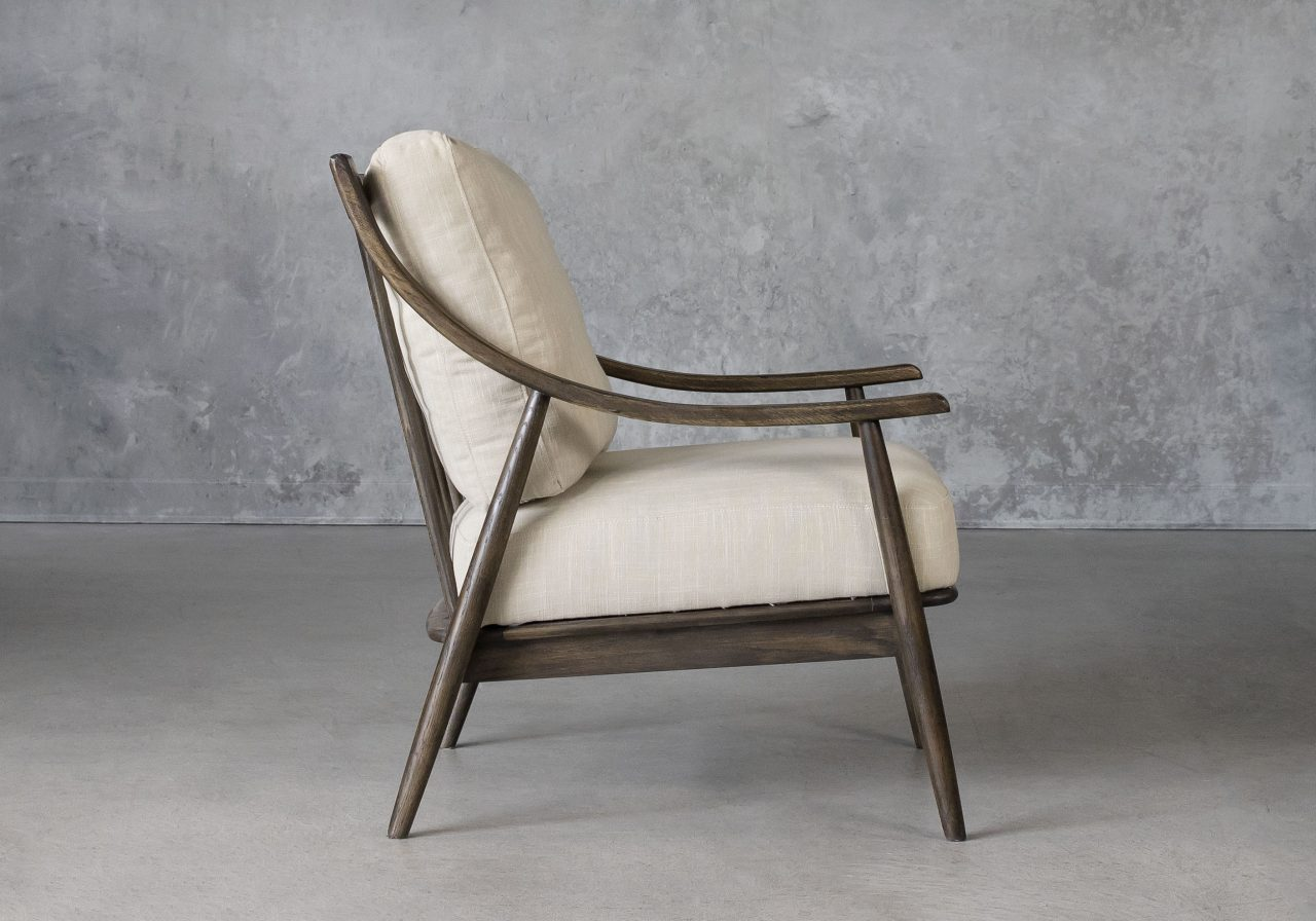 Mart Accent Chair in Linen Fabric, Side