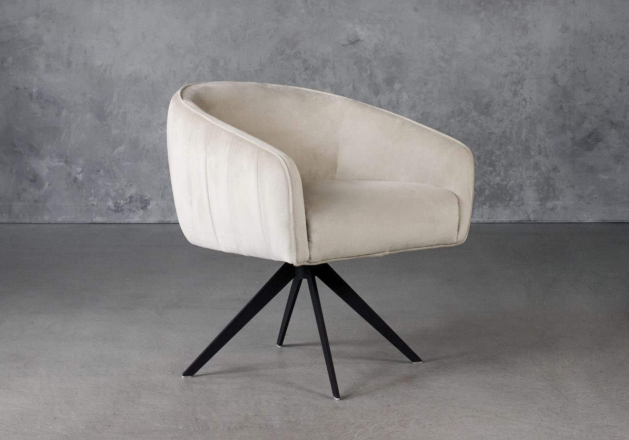 Milly Swivel Chair in Beige fabric, Angle