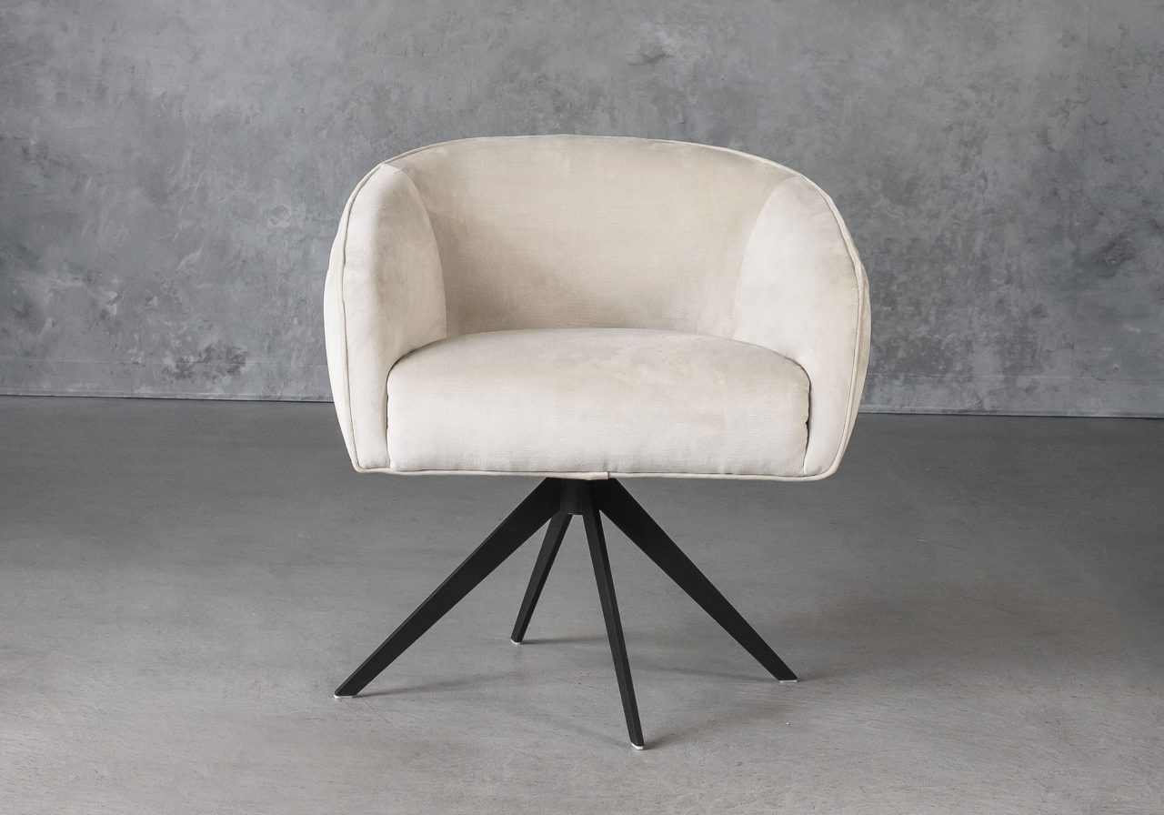 Milly Swivel Chair in Beige fabric, Front
