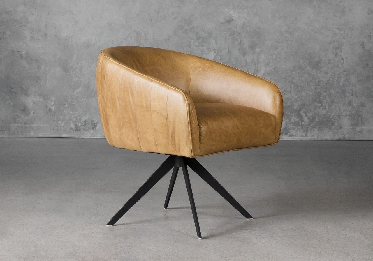 Milly Swivel Chair in Tan leather, Angle