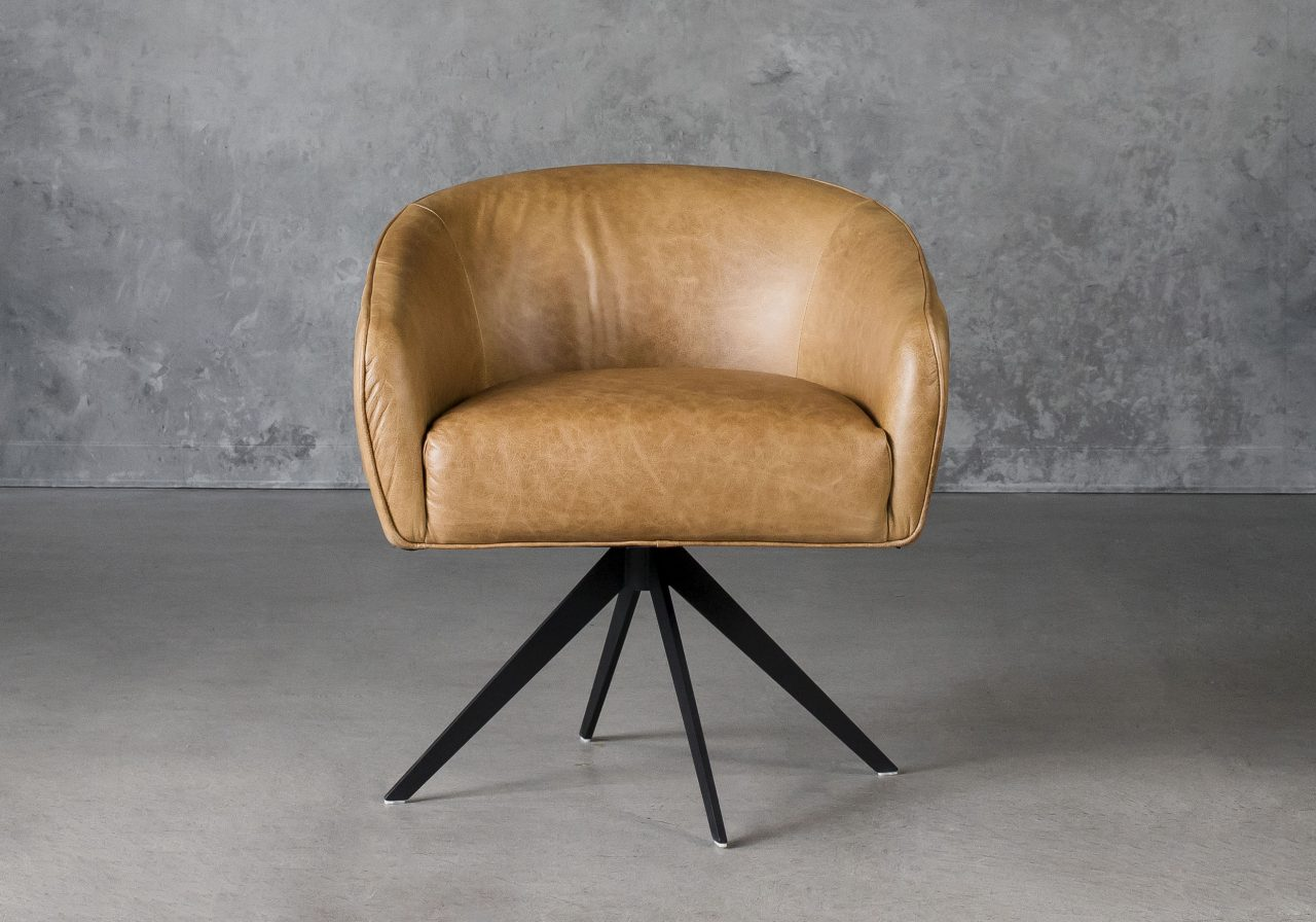 Milly Swivel Chair in Tan leather, Front