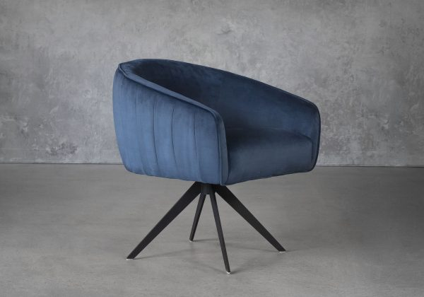 Milly Swivel Chair in Teal fabric, Angle