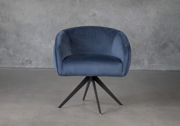 Milly Swivel Chair in Teal fabric, Front