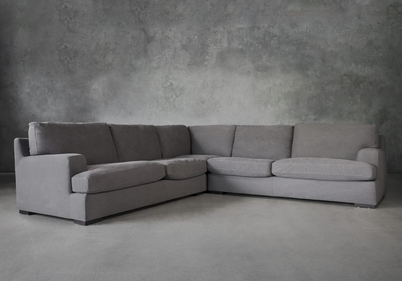 Nino Sectional in Dark Grey Fabric, Angle