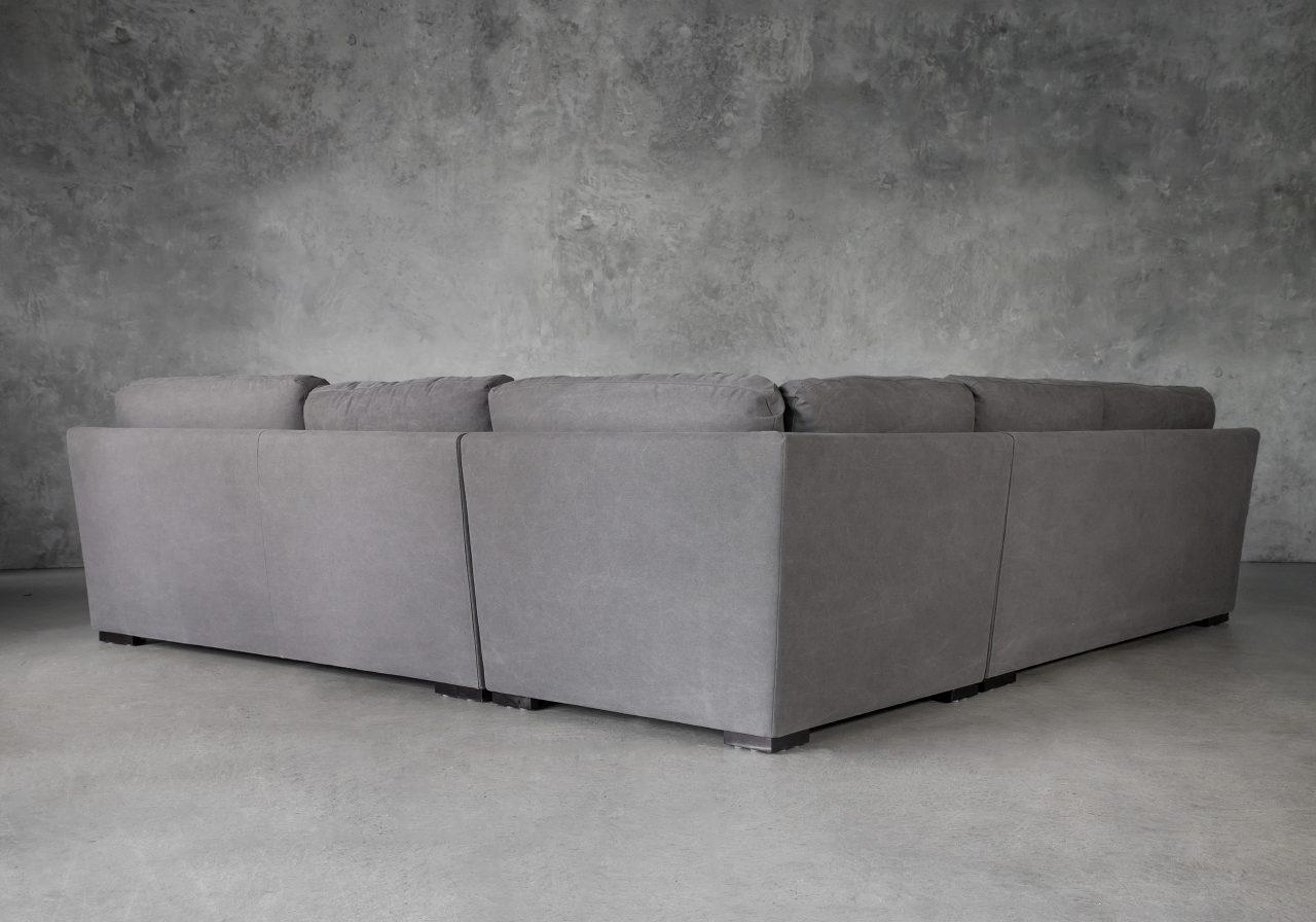 Nino Sectional in Dark Grey Fabric, Back