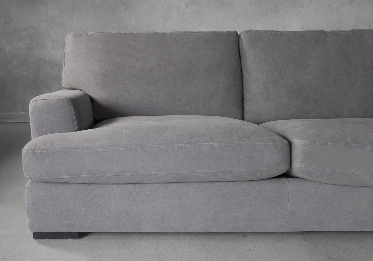 Nino Sectional in Dark Grey Fabric, Close Up