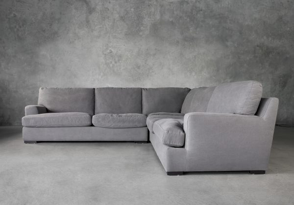 Nino Sectional in Dark Grey Fabric, Front