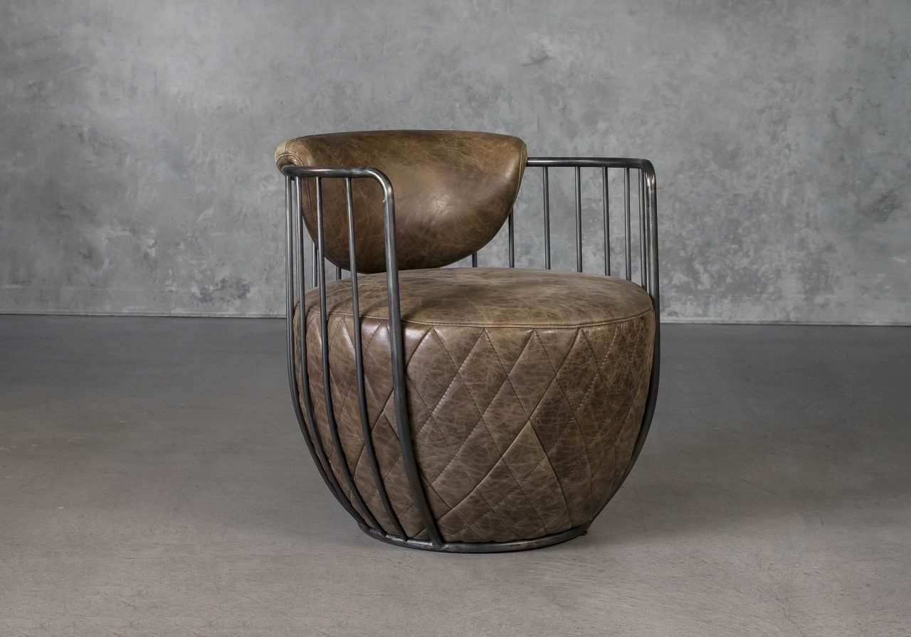 Paul Chair in Brown Leather, Angle