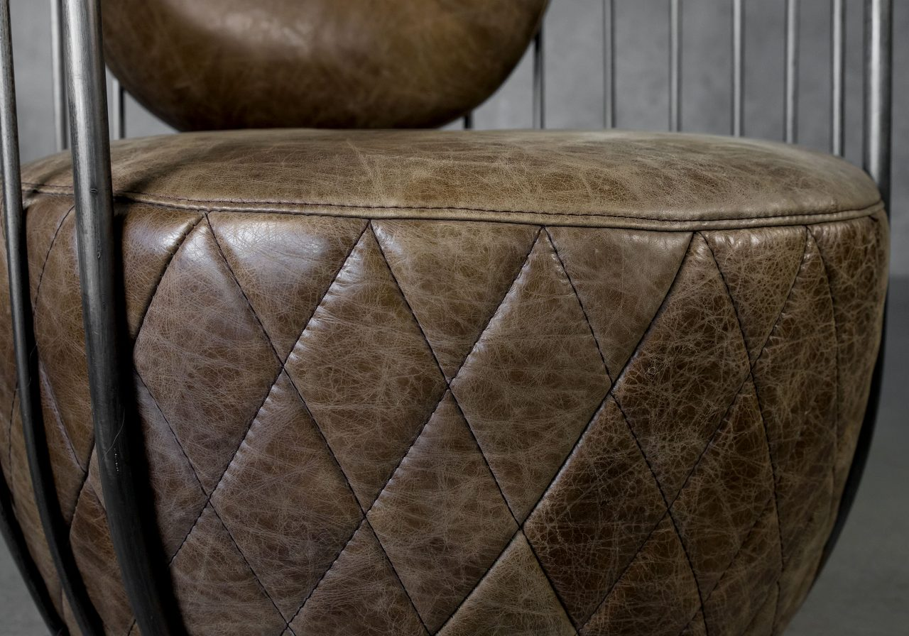 Paul Chair in Brown Leather, Close Up