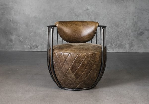 Paul Chair in Brown Leather, Front