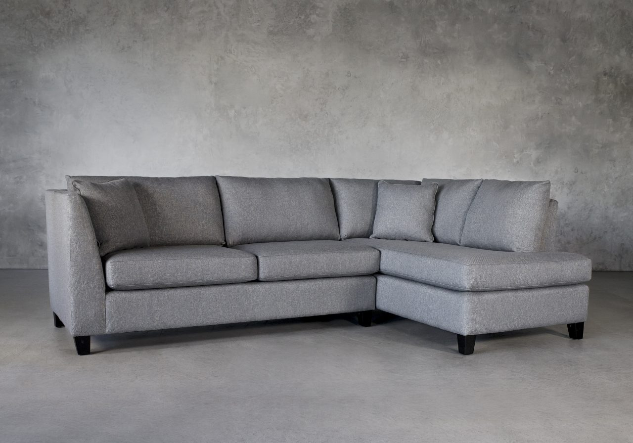 Saba 1 Arm Apartment Sofa in Grey Fabric, Angle