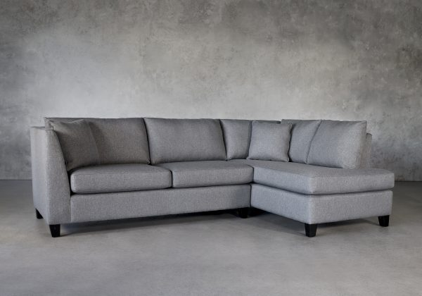 Saba 1 Arm Apartment Sofa in Grey Fabric, Angle