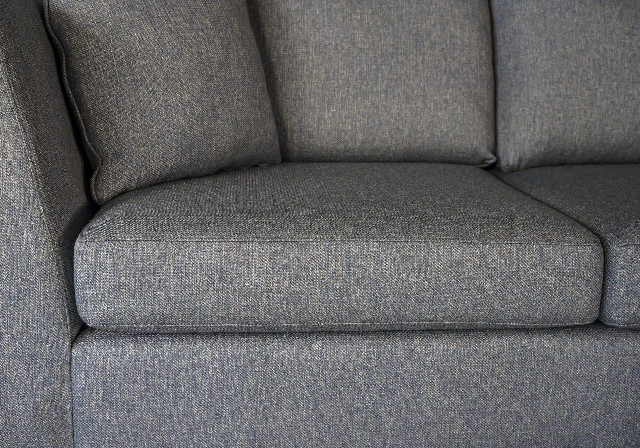 Saba 1 Arm Apartment Sofa in Grey Fabric, Close Up