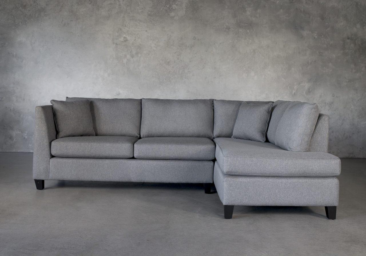Saba 1 Arm Apartment Sofa in Grey Fabric, Front