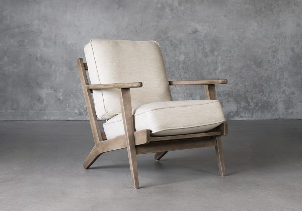 Sandy Chair in Beige Fabric, Angle