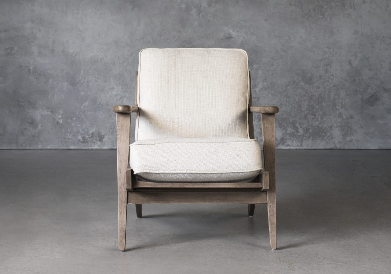 Sandy Chair in Beige Fabric, Front