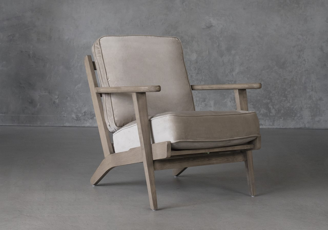 Sandy Chair in Taupe Fabric, Angle