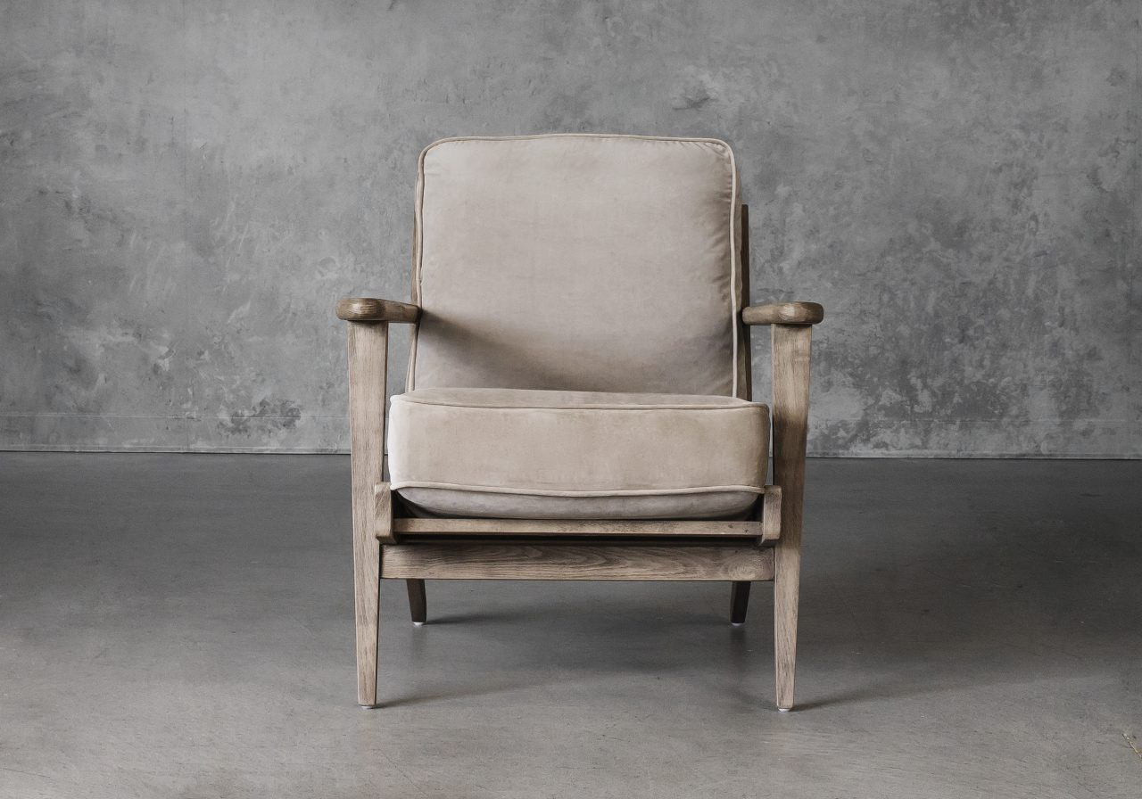 Sandy Chair in Taupe Fabric, Front