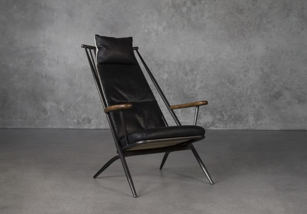 Sean Chair in Black Leather, Angle