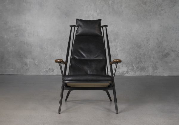Sean Chair in Black Leather, Front