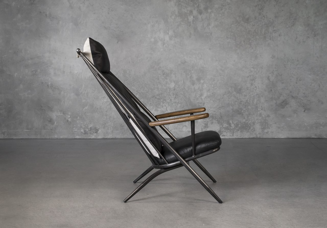 Sean Chair in Black Leather, Side