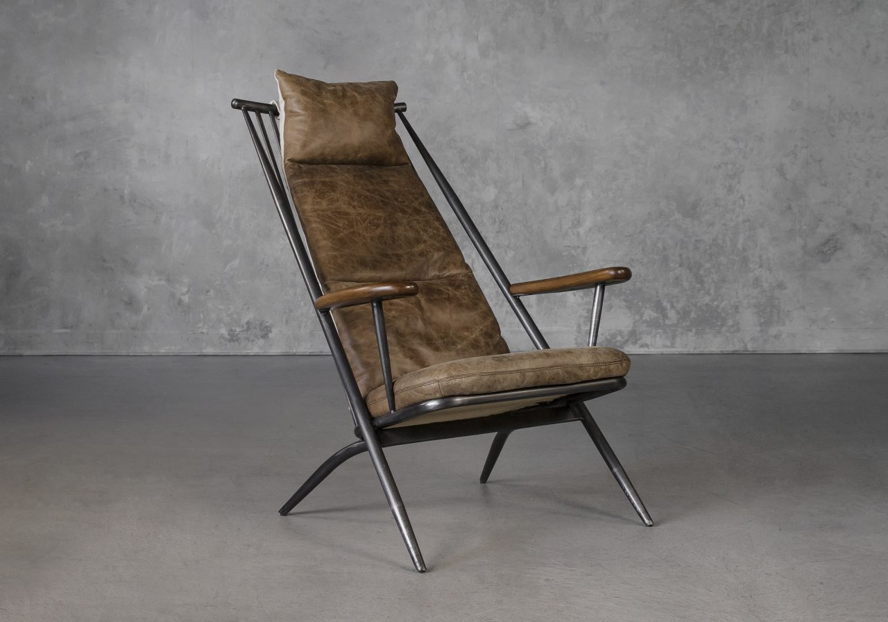 Sean Chair in Brown Leather, Angle