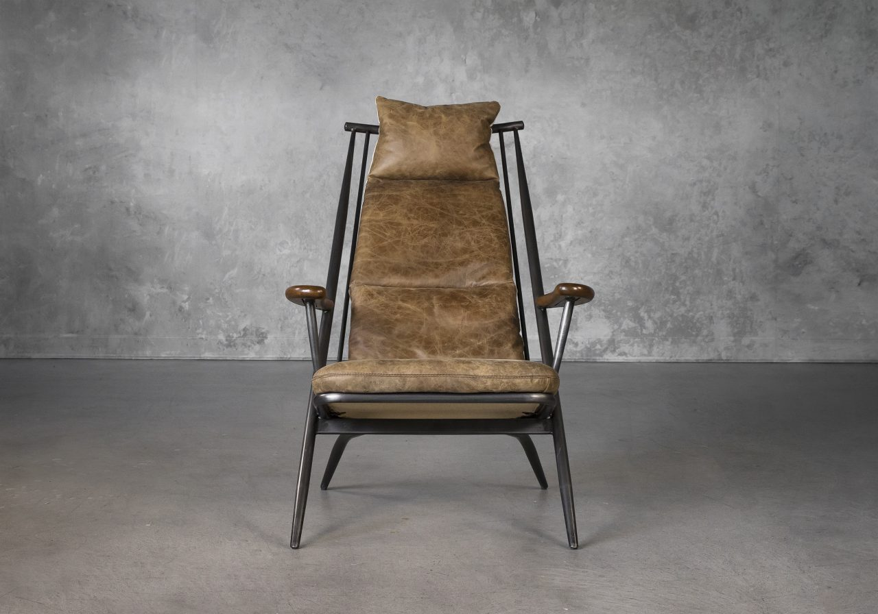 Sean Chair in Brown Leather, Front