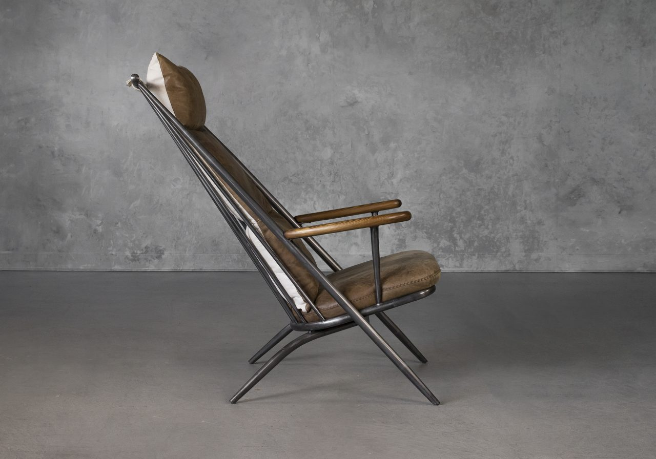 Sean Chair in Brown Leather, Side