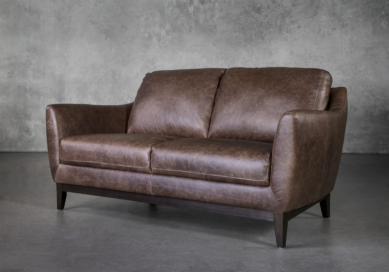 Seth Loveseat in Brown Leather, Angle