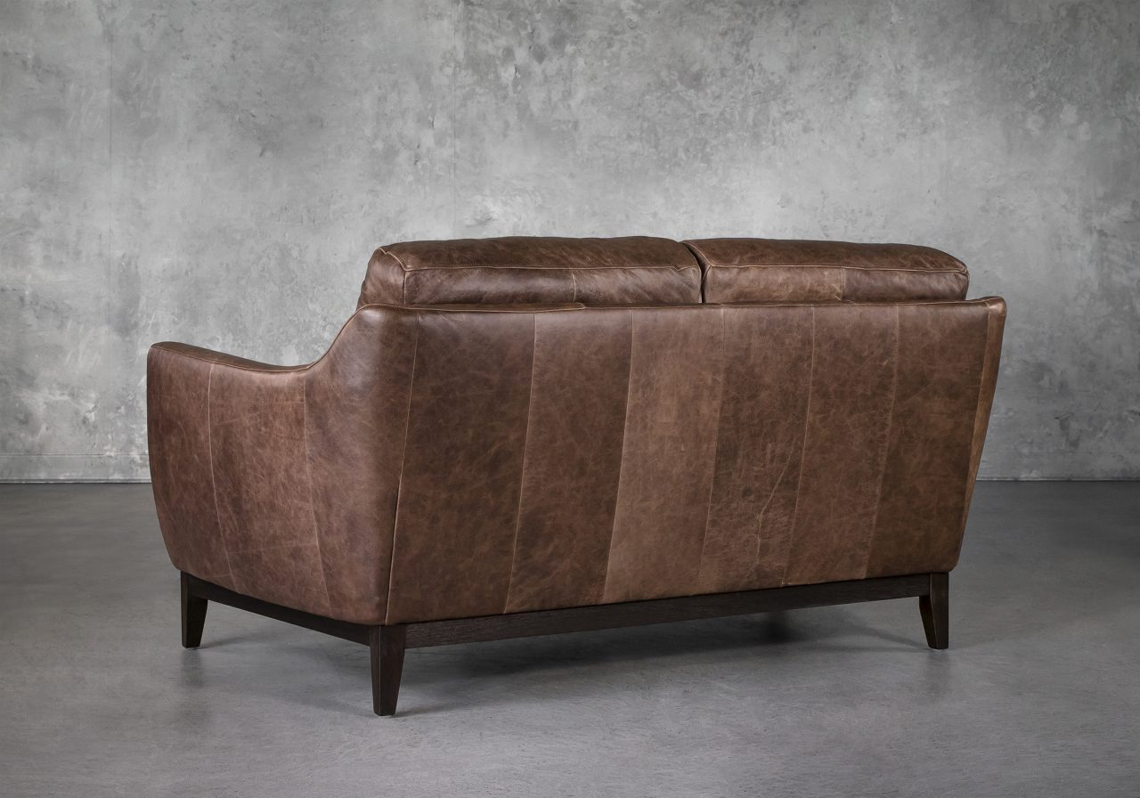 Seth Loveseat in Brown Leather, Back