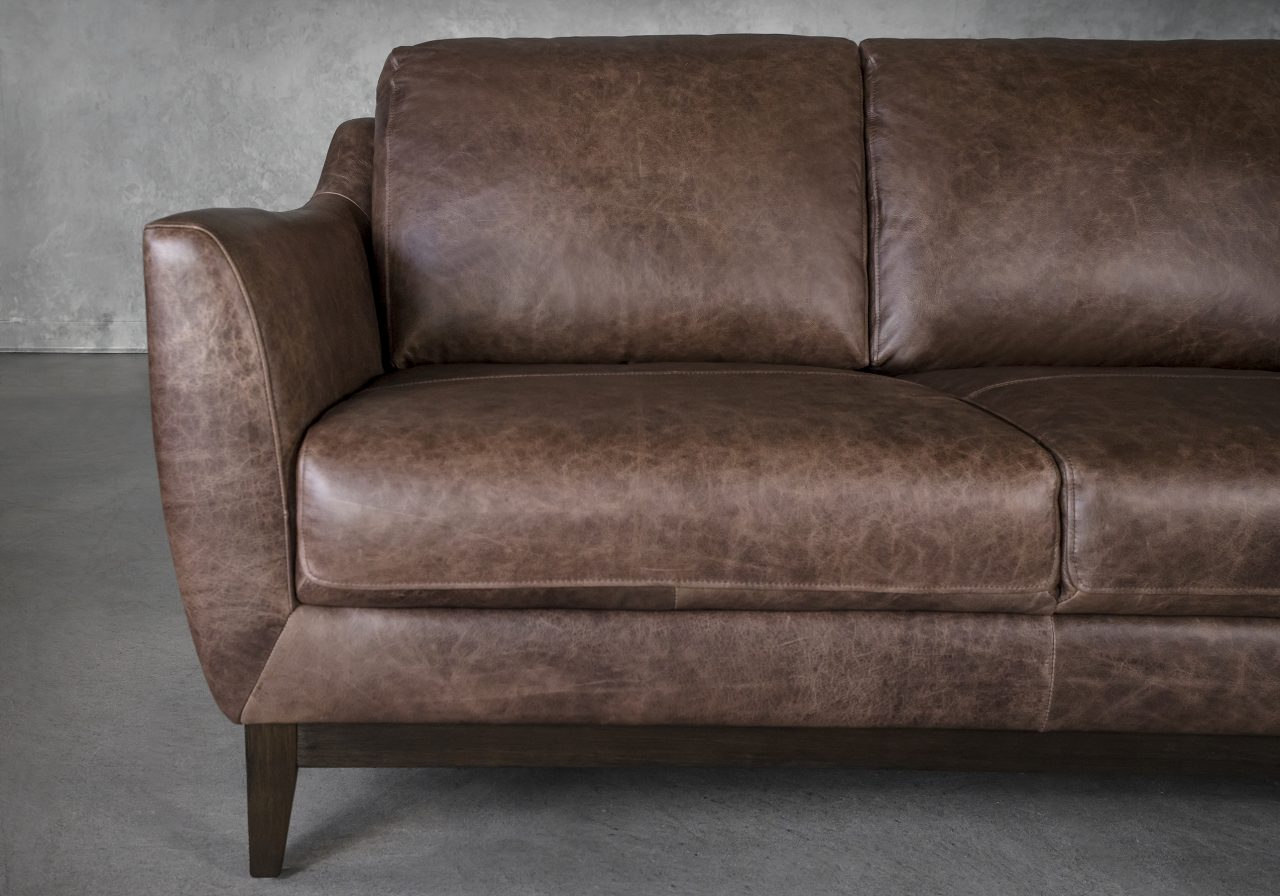 Seth Loveseat in Brown Leather, Close Up