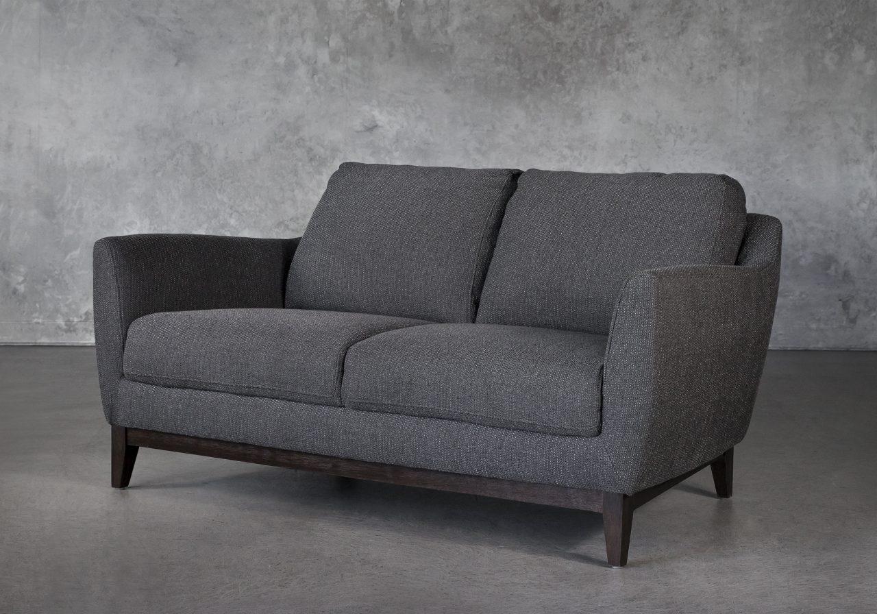 Seth Loveseat in Dark Grey Fabric, Angle